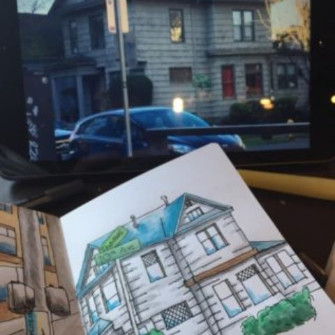 Sketch with the house in the background.