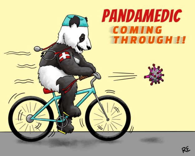 Panda bear dressed in medical clothes, chasing covid virus